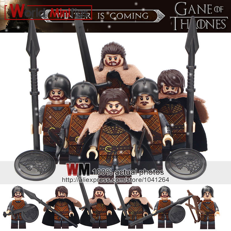 6pcs/set New Game of Thrones Eddard Stark Ice and Fire Building Blocks Bricks Model Toys for Children Gifts