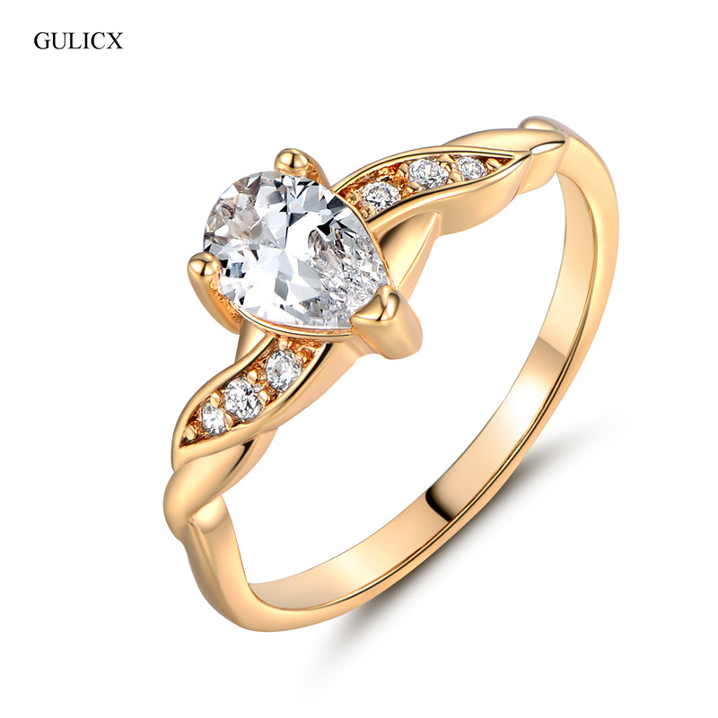 2014 18K Gold Plated Water Drop Cut White CZ Band Engagement Rings Love Ring For Women High Quality Free Shippng (GULICX R107)
