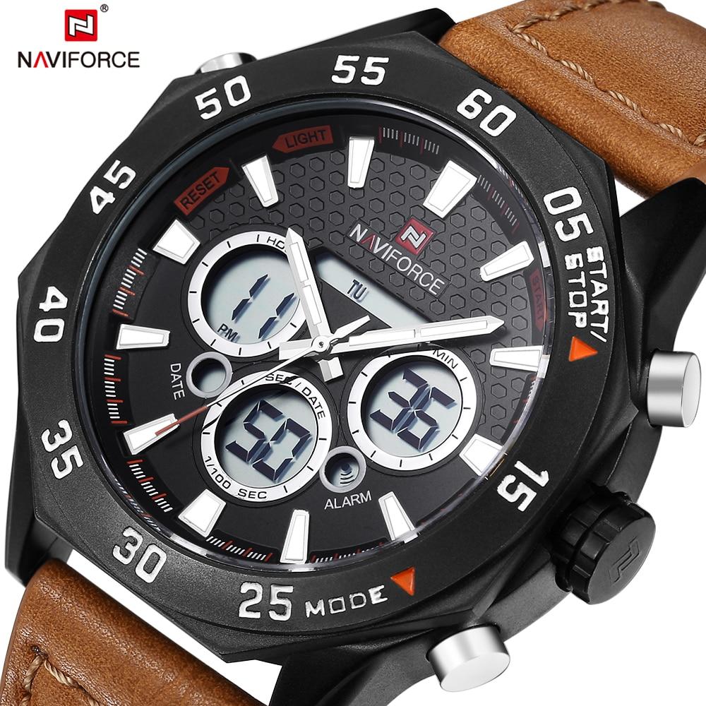 2017 New Fashion Naviforce Men Watch Sports Quartz Watches Analog-Digital Genuine Leather Waterproof Relogio Masculino Best Gift naviforce new genuine leather watch men