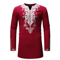 African Men's Tunic Shirt Long Bride Groom Pullover T shirt Dashiki Print Gold Foli Polished Top For Men Long Sleeves Oversized