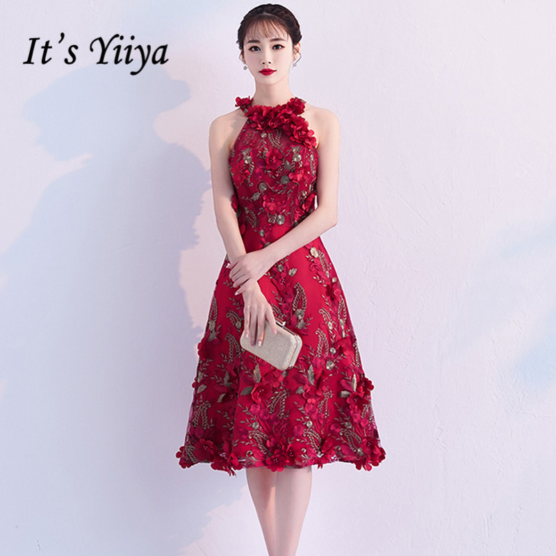 It's YiiYa   Prom     Dresses   Appliques Beading Floral Wine Red Halter Sleeveless Knee-length Party Gowns A-line Formal Frocks TR002