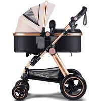 Высокая Пейзаж Детские коляски может сидеть и лежать 2 в 1 тележка может складной зонтик тележки большой заднего колеса томагавк колеса коля