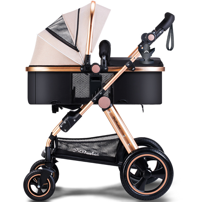 все цены на High Landscape Baby Stroller Can Sit And Lie 2-in-1 Trolley can Foldable Umbrella Carts Big Rear Wheel Tomahawk Wheel stroller
