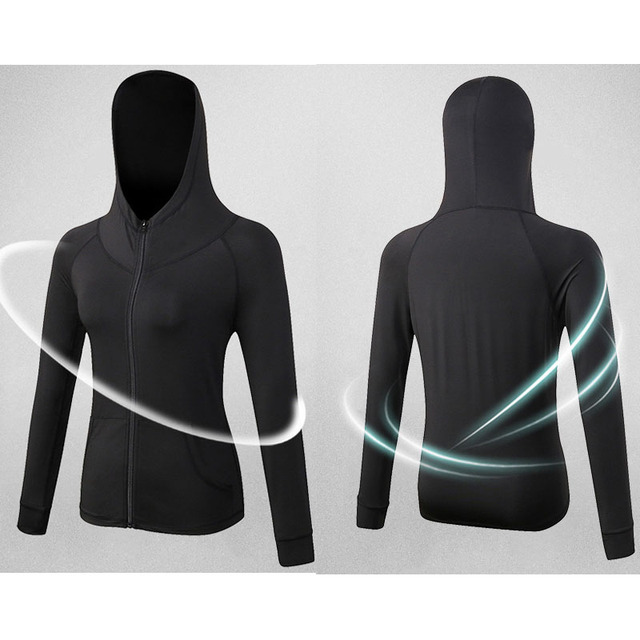 CLEVER-MENMODE Autumn Gym Jacket Elasticity Shirt Running Hoodies Coat Tights Women's