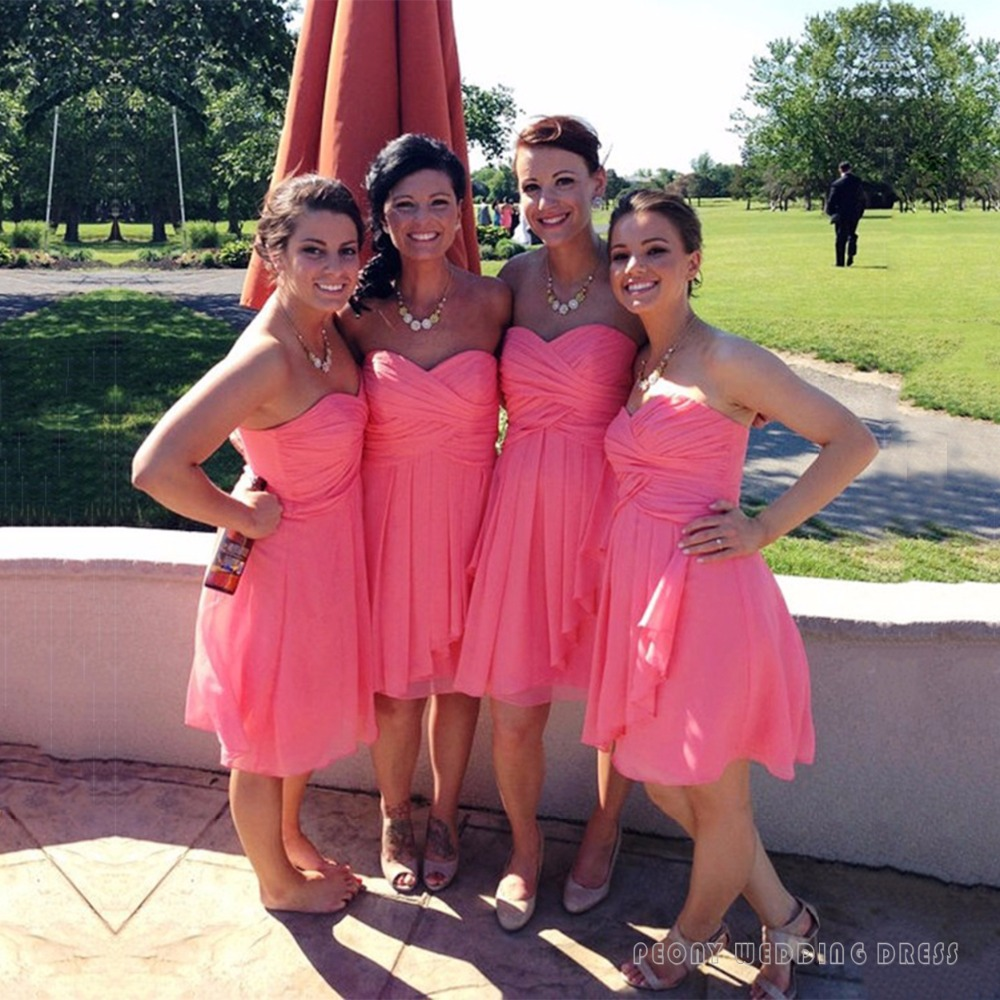Online get cheap chiffon short coral bridesmaid dresses cute short pink bridesmaid dresses under 100 empire chiffon coral bridesmaid dress pleat sexy sweetheart bridesmaid ombrellifo Image collections