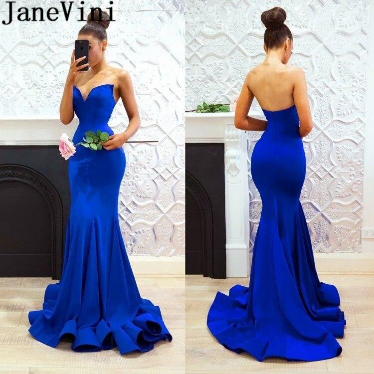 JaneVini Promo 2019 longues robes de bal sirène bleu Royal Sexy Satin dos nu soirée robe Vestido Gala col en v robe formelle