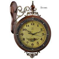 New 2015 Fashion Double Sides Wall Clock Rustic Clock Home Decorating Items Wintage Style Wall Wood Clocks Hot Selling