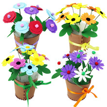 4pcs Children DIY Handmade Flower Toys/ Kids Child Creative Flowers with Pot for Learning and Educational Toys, Free Shippin