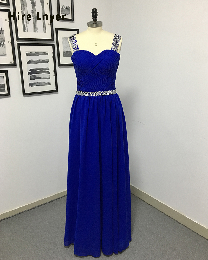 HIRE LNYER Custom Made Blue Chiffon Formal Gowns Shiny Beading ...