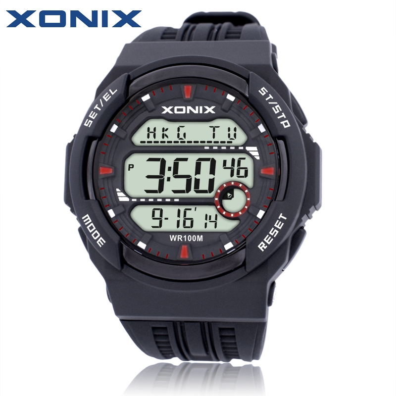 Hot Sale XONIX World Time Men Sports Watches Waterproof 100m Digital Watch Running Swimming Diving Wristwatch
