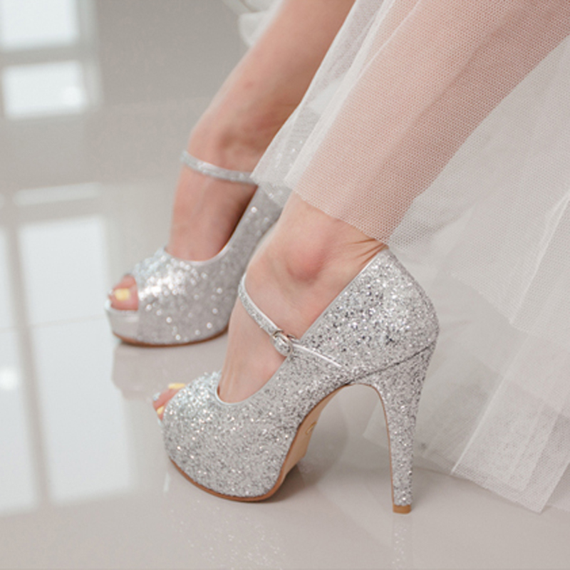 Aliexpress.com : Buy Silver Glitter Wedding Shoes High Quality