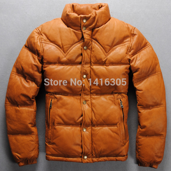 Japanese brand winter white duck down leather jacket with wool ...