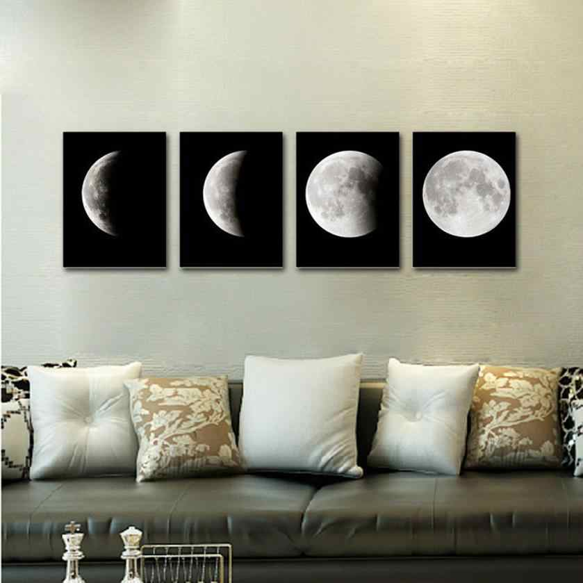 Canvas painting Modern Art Prints Canvas Home Wall Decor Poster Abstract The Moon 4PCS Framed quadro posters and prints 2019 new