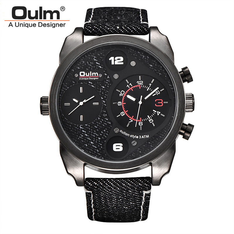 Oulm Canvas Watch Man Casual Sport Male Quartz Wrist Watches Men Luxury Brand Two Time Zone Military Watches reloj hombre wrist switzerland automatic mechanical men watch waterproof mens watches top brand luxury sapphire military reloj hombre b6036