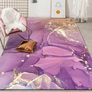 Image 1 - Alfombra de felpa para dormitorio tapete de puerta para cocina moderno y bonito abstracto con acuarela, rosa, dorado, Morado, para sala de estar y mesita de noche
