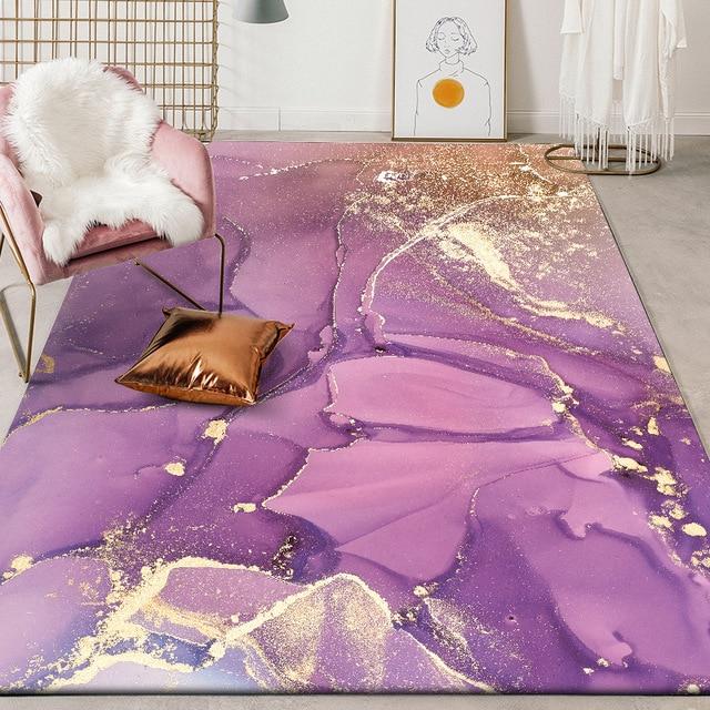Alfombra de felpa para dormitorio tapete de puerta para cocina moderno y bonito abstracto con acuarela, rosa, dorado, Morado, para sala de estar y mesita de noche