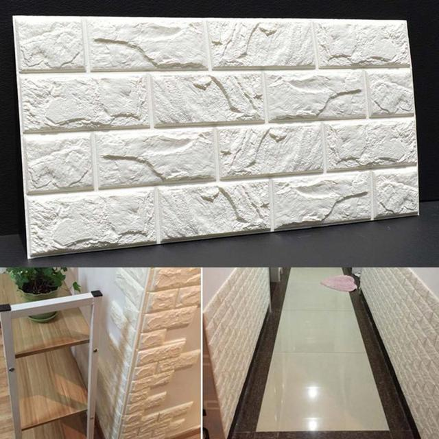 PE Foam 3D DIY Stone Brick Wall Stickers Home Decor Poster Wallpaper For Living Room Kitchen