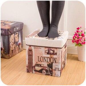 Image 3 - Caja de almacenamiento plegable multifuncional de alta capacidad, banqueta plegable de almacenamiento de película no tejida Retro, taburete de almacenamiento de zapatos creativo para el hogar