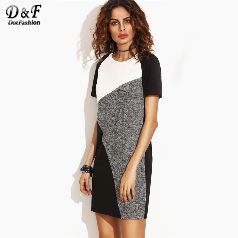 Dotfashion Color Block Raglan Sleeve Tee Dress Multicolor Round Neck Dress 2017 Summer Short Sleeve Shift Short Dress