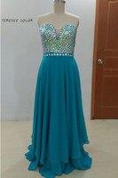 Vestidos De Festa Sexy Sweetheart Sleeveless Beading Tops Prom Dresse Chiffon Floor Length Formal Evening Gowns