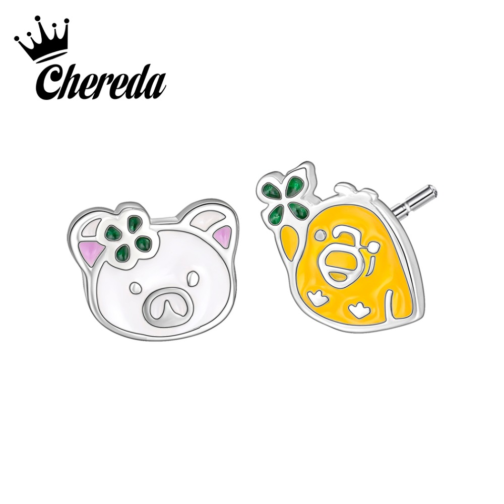 Chereda Cute Pig Shape Stud Earring for Women Silver Tiny Small Delicate Children Earrings Office Classroom Fashion Earring in Stud Earrings from Jewelry Accessories