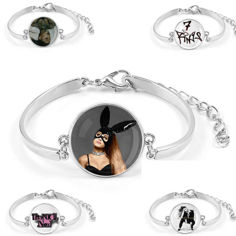 Ariana Grande 7Rings Bracelet Songs Thank U Next Album Dangerous Woman Symbol Badge Braslet Cuff Wrist Band For Fans Gift