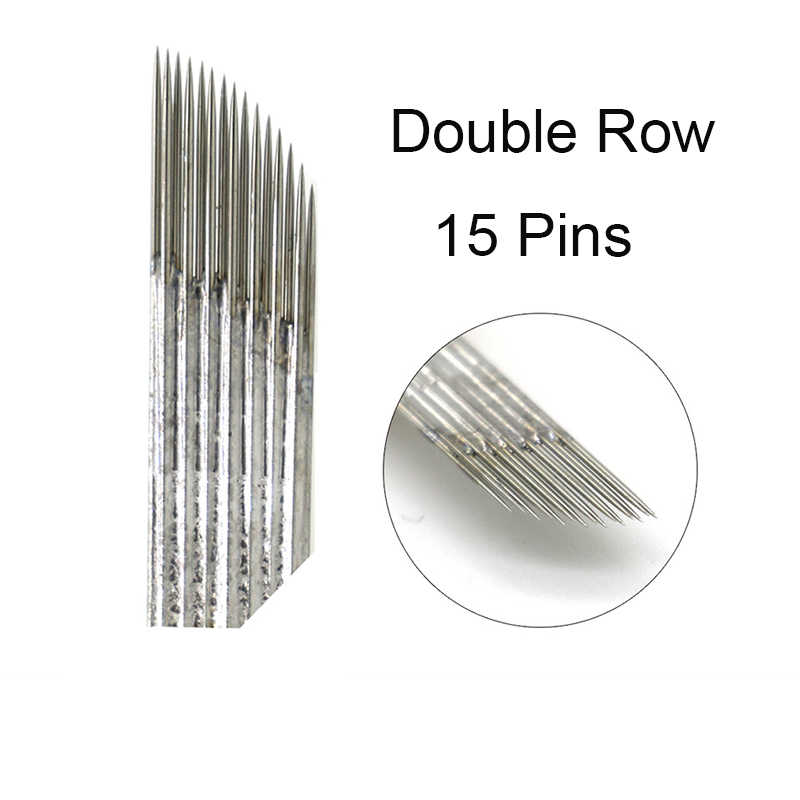 2 filas 15 agujas de maquillaje permanente ceja hoja de tatuaje doble Microblading agujas para bordado 3D máquina de lápiz de tatuaje Manual