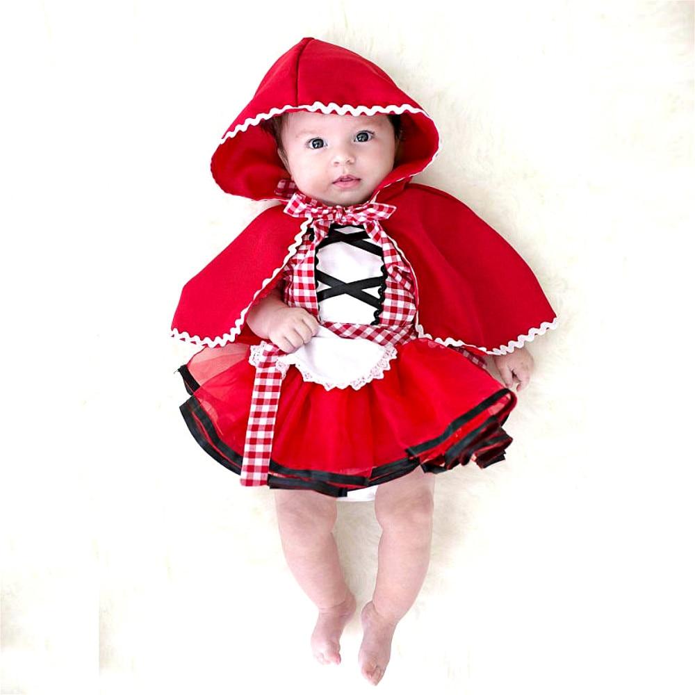 Платье-пачка для новорожденных девочек + накидка, наряд Красная Шапочка, костюм для костюмированной вечеринки вечерние платья для девочек одежда для малышей