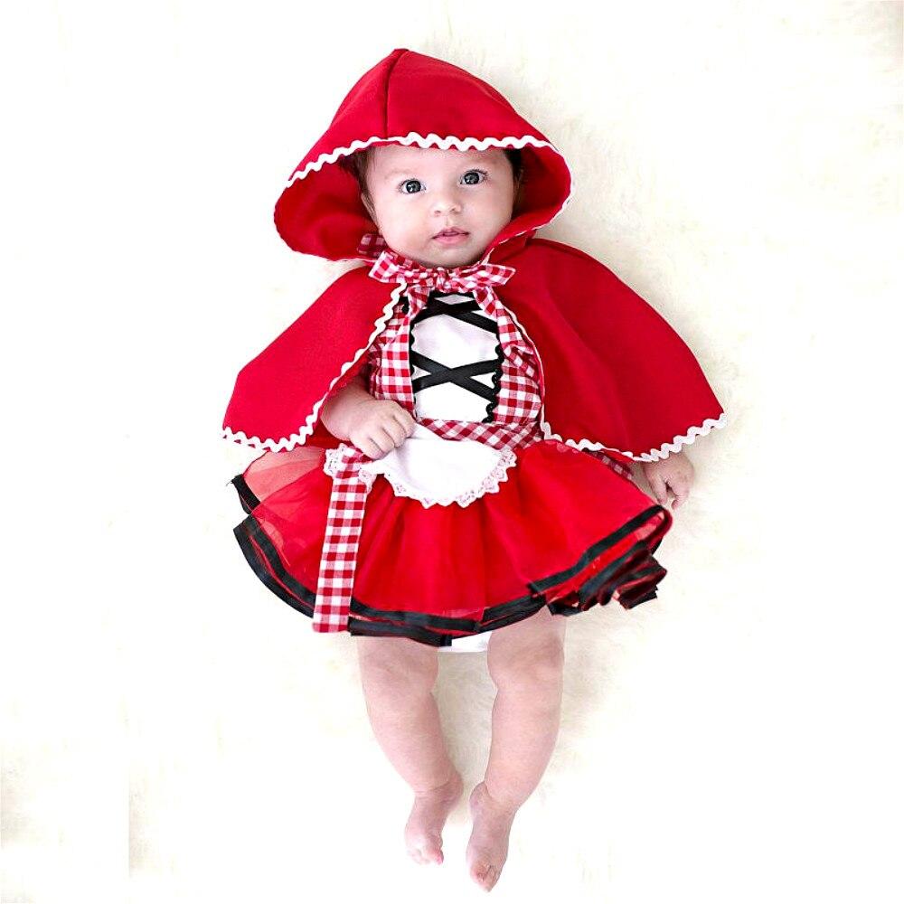 2 stücke Weihnachten Neugeborenen Kleinkind Baby Mädchen Kleidung Rotkäppchen Party Baby Mädchen Prinzessin Kleider Baby Mädchen Kleidung