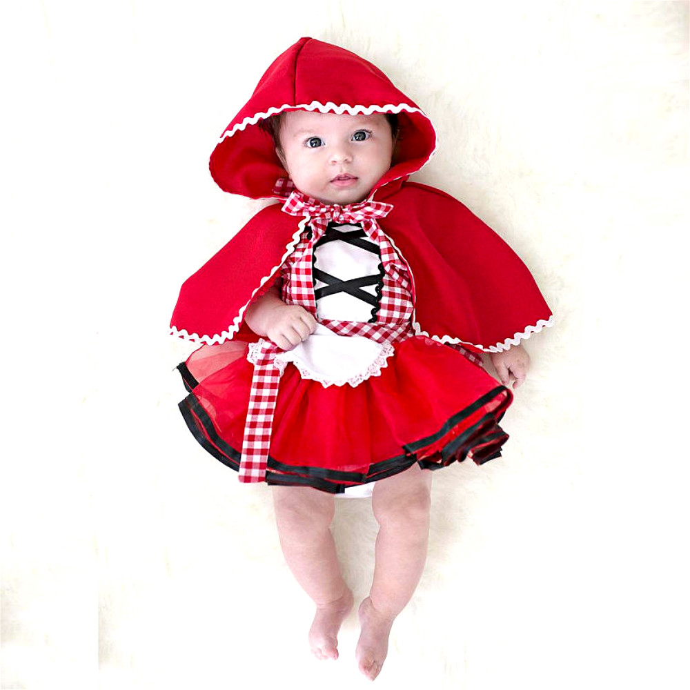 2Pcs Christmas Newborn Toddler Baby Girls Clothes Little Red Riding Hood Party Baby Girl Princess Dresses