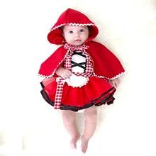 Шт. комплект из 2 предметов, Рождественская Одежда для новорожденных, маленьких девочек, Красная Шапочка вечерние, праздничные платья принцессы для маленьких девочек, одежда для маленьких девочек