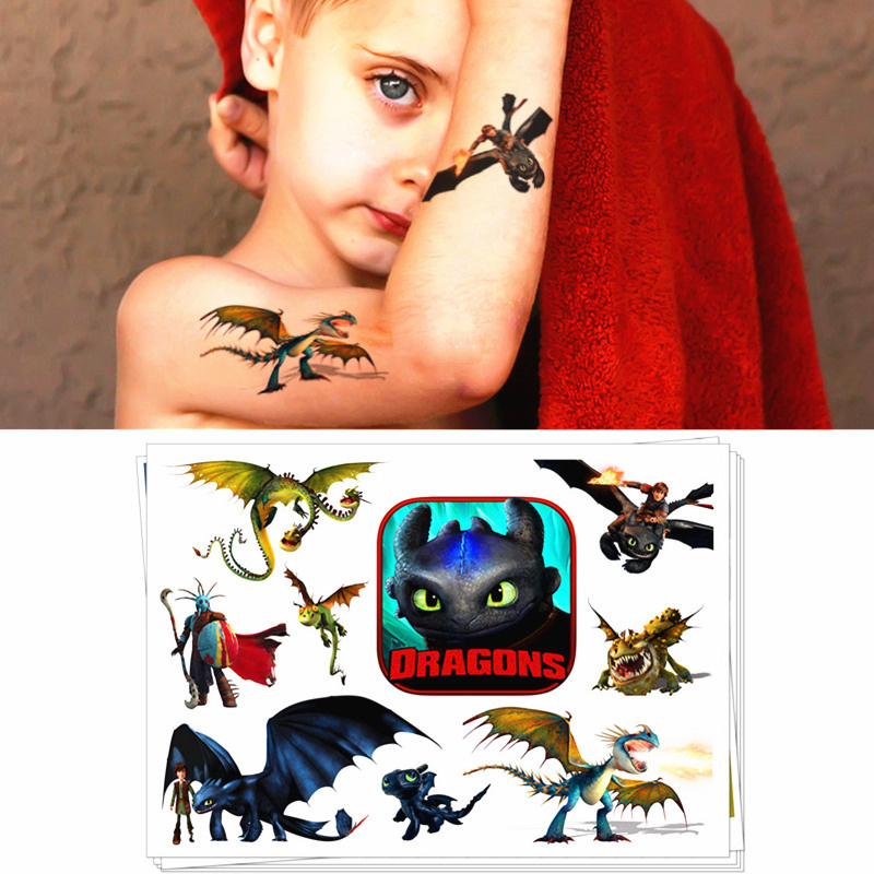 Children Temporary Tattoo Sticker Cartoon Tatoo Body Art Novelty Gag Toys For Dragon Knights Fans Waterproof 2-3 Days
