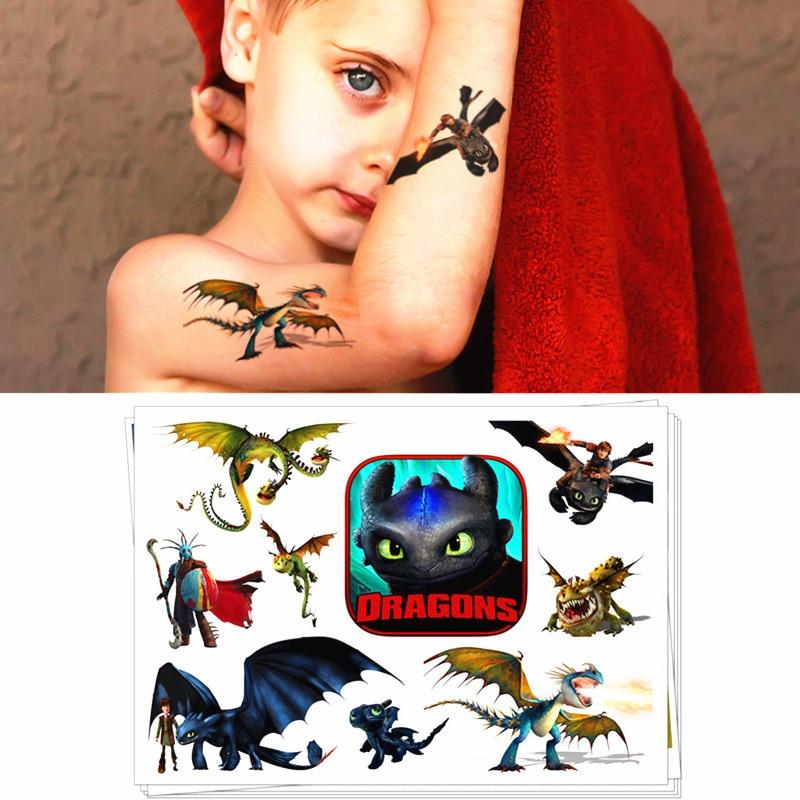 Children Temporary Tattoo Sticker Cartoon Tatoo Body Art Novelty Gag Toys For Dragon Knights Fans Waterproof 2-3 Days