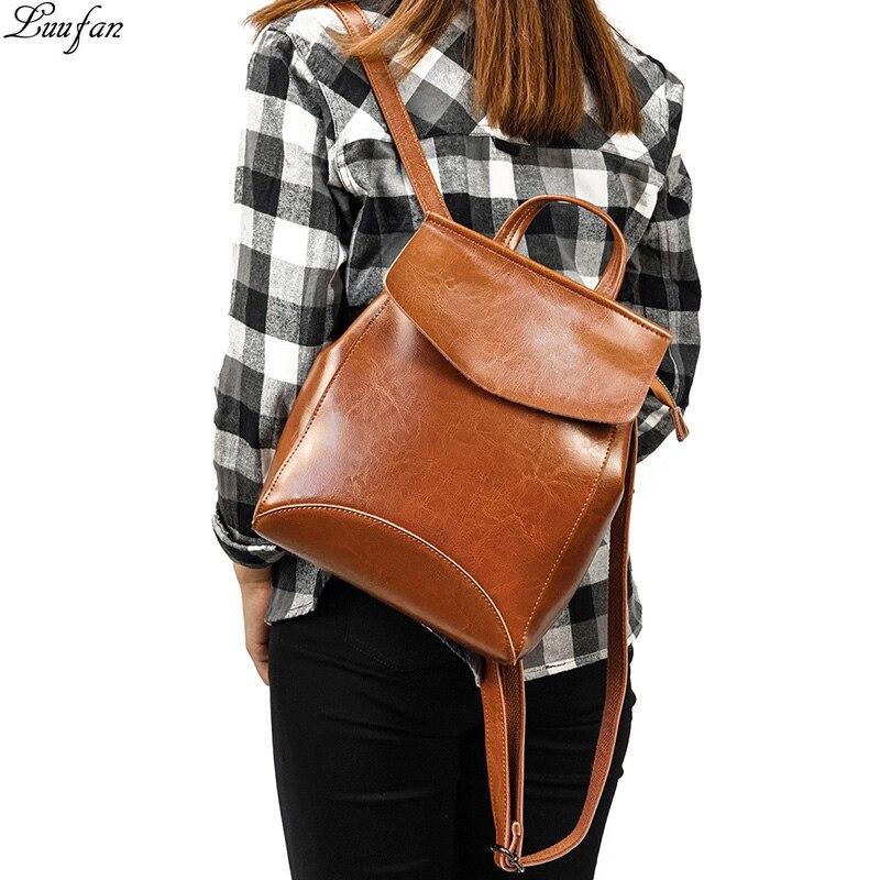 Women Backpack Fashion Casual Genuine Leather Female Backpacks For Teenage Girls Cow Leather Shoulder Crossbody Bag
