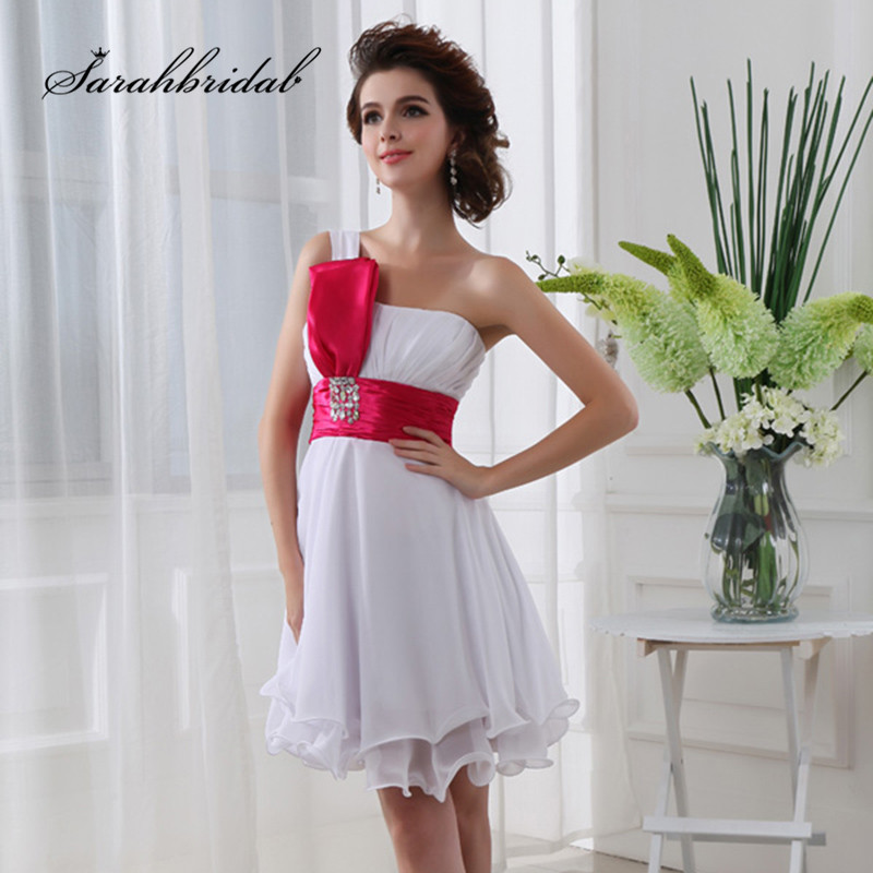 Simple Short Homecoming Dresses For Graduation Party Formal 2019 Pleat One Shoulder prom Cocktail Gown SD017Homecoming Dresses   -