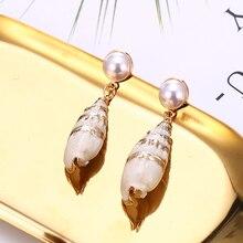New Natural Sea Shell Drop Dangle Earring for Women Trendy Pearl Earrings Statement Geometric 2019 Beach Jewelry