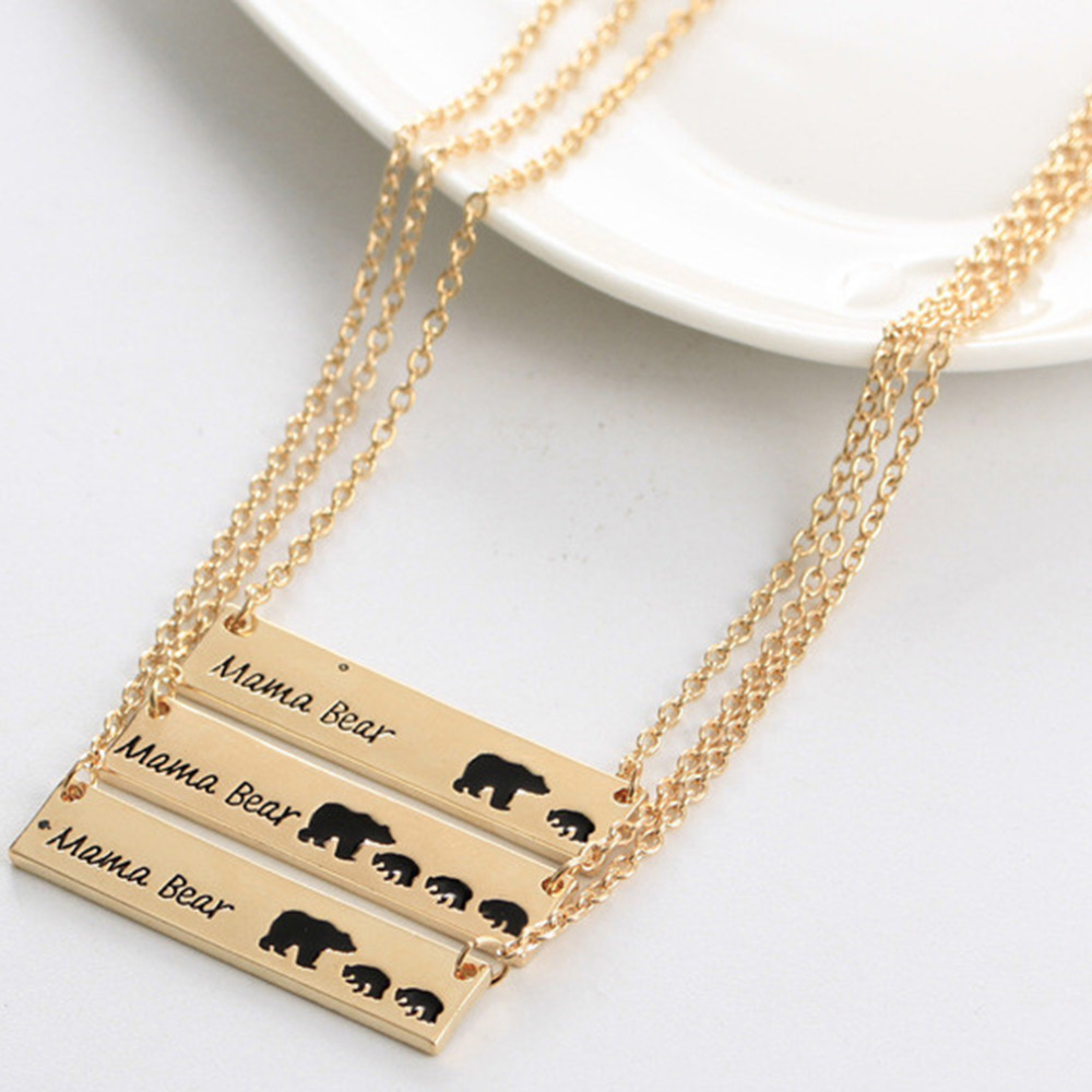 Hot Sale Dropship New Fashion Vintage New Mom Love Mama Bear Necklace Mother Grizzly Bear Women For mother's Day Gift image
