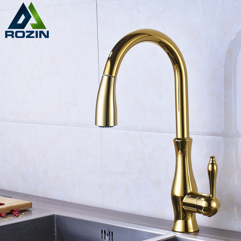 Luxury Deck Mounted Pull Out Down Spout Kitchen Basin Sink Faucet Tap Golden Single Lever One Hole Hot and Cold Mixers цена и фото