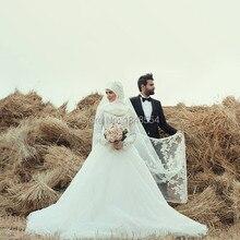 MZY841 long sleeve high neck muslim hijab vestido de noiva lace appliques traditional islamic wedding dress 2015
