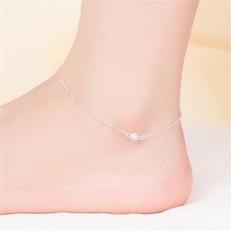KOFSAC New Fashion Frosted Beads 925 Sterling Silver Chain Anklets For Women Party Ankle Bracelet Foot Jewelry Girl Best Gifts