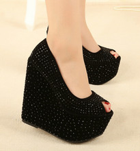 Sexy 16CM high with slope with heavy-bottomed platform shoes nightclub waterproof sandals fish head high heels shoes