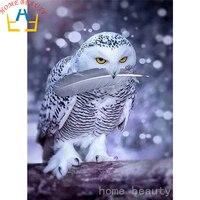 Diy Embroidery With Diamonds Needlework Diamond Painting Mosaic Dmc Paint Animals Snow Owl Cross Stitch Decor