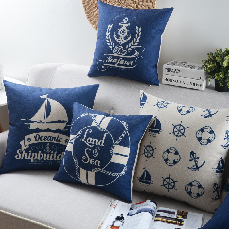 Nordic style Mediterranean Sea Anchor shell throw pillow cover case cotton linen cushion cover for sofa home decor almofadas