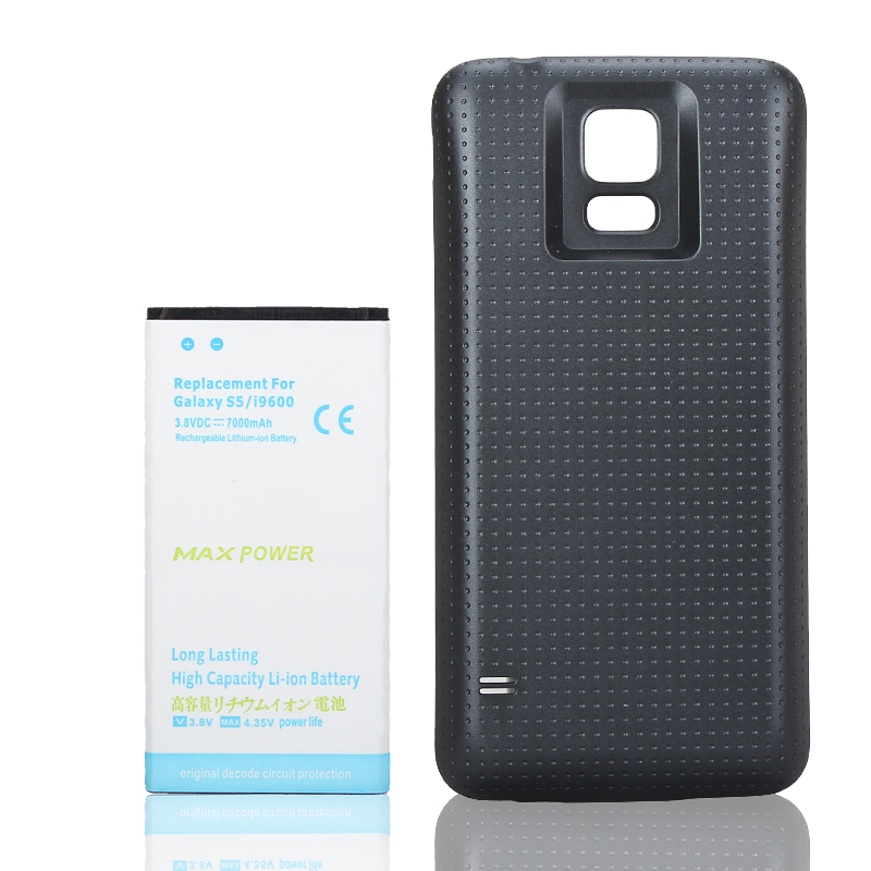 High Quality & Capacity 7000mAh Replacement Li-ion Extended Battery + Black Case Cover For Samsung Galaxy S5 i9600 Battery