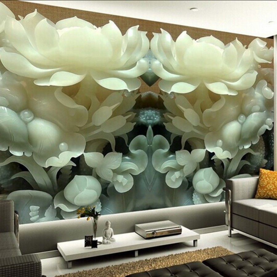 online get cheap chinese wall paper aliexpress com alibaba group beibehang wall paper chinese jade lotus 3d stereoscopic tv background wallpaper for living room bedroom 3d