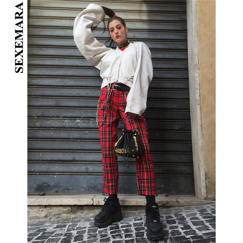SEXEMARA Cotton Red Plaid Wide Leg   Pants   Women 2019 Harajuku Butt Zipper Loose Trousers Ladies   Capris   Vintage Streetwear C71AC66