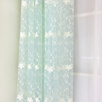 Korean pastoral embroidery net yarn gauze beautiful curtain,rustic finished products balcony light blue,pink,white tulle.