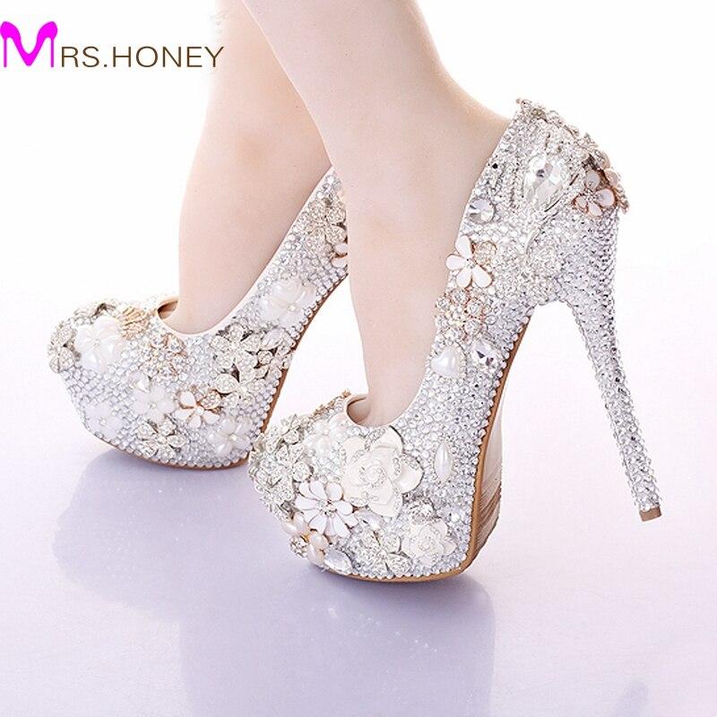 2016 gorgeous wedding shoes round toe rhinestone bridal dress shoes handmade jeweled crystal party prom amazing