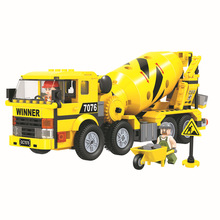 328pcs Mixer Truck Building Block City Town Construction Heavy Engineering Cement Educational Bricks Toys For Children new city engineering team demolition site building block worker figures truck forklift bricks 60076 educational toys for kids