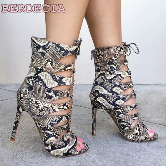 Top selling young women snakeskin leather ankle boots lace up sandal boots high heel cut-outs chess open toe dress short boots midi клавиатура roland k 25m